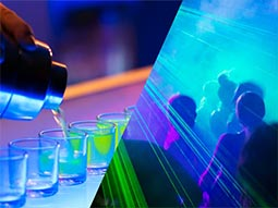 A split image of shots getting poured and people dancing in a nightclub