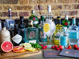 A variety of gin bottles with fruit in the foreground
