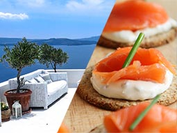 A split image of a rooftop terrace and some canapes
