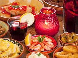 A variety of tapas dishes on a table