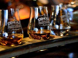 A line of whisky glasses
