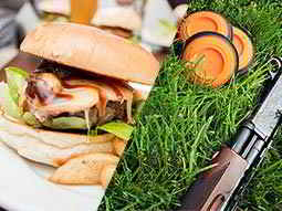 A split image of a cheeseburger and a shotgun lying on grass next to three orange clays