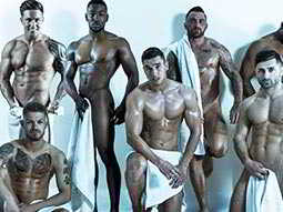 A group of naked men in various poses covering themselves with white towles