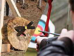 A split image of knives stuck in a wooden log and a person aiming a bow and arrow