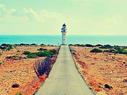 A view down a narrow, paved path leading up to a small white lighthouse