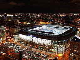 Santiago Bernabéu Stadium lit-up at night