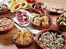 Spanish tapas dishes on a table