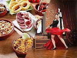 Split image of Spanish tapas dishes and a woman flamenco dancing