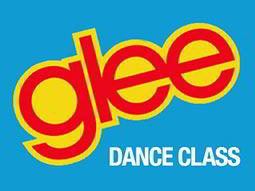 The Glee TV show logo and the words dance class on a sky blue background