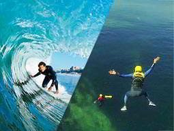 Split image of a man surfing the waves, and two people jumping into the water