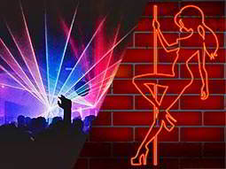 A split image of some people partying in a huge club, and a neon sign of a woman dancing on a pole