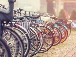 A line of parked bicycles