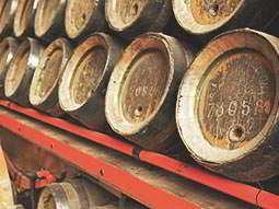 Beer barrels stacked up