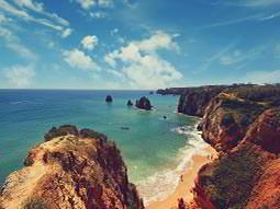 The rocky coast and beach of Algarve