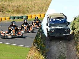 A split image of multiple go karts on an outdoor circuit and a yellow rage off-road buggy