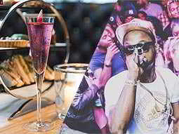 A split image of a pink cocktail in a flute glass and a man singing into a microphone