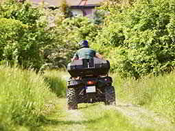 A man driving a quad bike into the wilderness