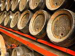 Some wooden kegs lined up