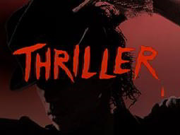 The silhouette of a man wearing a trilby hat superimposed with the word THRILLER in red capital letters