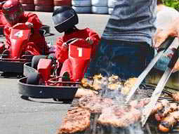 A split image of some go karts driving around a track and a man turning some meat on a BBQ with tongs