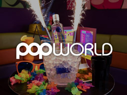The interiors of Pop World with bar and discoballs