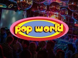 Interiors of Pop World in Liverpool, with discoballs on the ceiling
