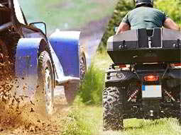 Split image of a car driving through mud, and a man on a quad bike