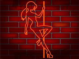 Orange cartoon illustration of a woman pole dancing on red brick