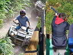 A split image of a man quad biking and a man aiming his gun to the sky