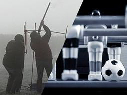 A split image of two men aiming a gun at the sky, and the view from inside a table football game