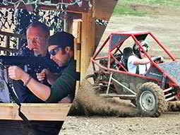 Split image of a man aiming a rifle with an instructors aid, and a man in a red rage buggy