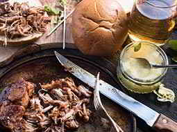 A pulled pork meal with apple sauce