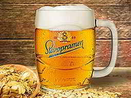 A full Staropramen Brewery tankard, with ingredients next to it