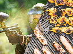 A split image of a man firing a paintball gun and some meat sizzling on the BBQ