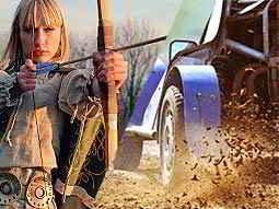 A split image of a woman firing a bow and arrow and some wheels driving fast through mud
