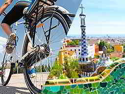 A split image of a bike and Parc Guell in Barcelona