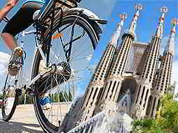 A split image of a bike and La Sagrada Familia under a bright blue sky