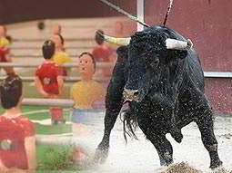 A black bull running over a faded image of a human table football game