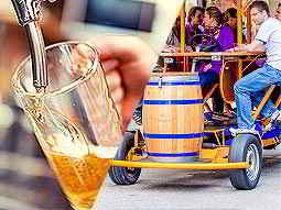Split image of a mans hand pouring beer from a tap into a cup, and people on a beer bike in the street