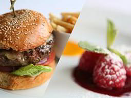 A split image of a burger on a white plate and raspberries on a plate