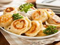 A plate of traditional Polish dumplings