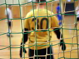 The back of a football shirt visible through a goal net in the foreground
