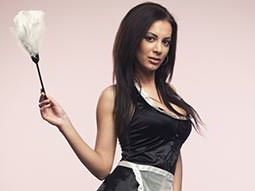 An attractive woman wearing a cleaner