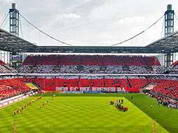 A view of the pitch and some stands at RheinEnergieStadion, the FC Koln football stadium