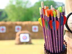 Close up of bows in a quiver outdoors, with blurred archery targets in the distance