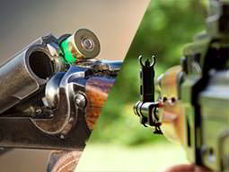 A split image of a double barreled shotgun cracked open to reveal a green shotgun shell and a view down the side of a Kalashnikov-style rifle