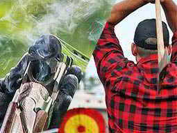 A split image of an over/under double-barreled shotgun cracked open and smoking and a man preparing to throw a large axe