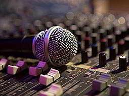 A mic on DJ decks