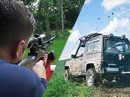 A split image of a man aiming a rifle and a 4x4 vehicle driving through mud