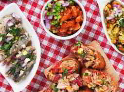 An areal shot of tapas in dishes